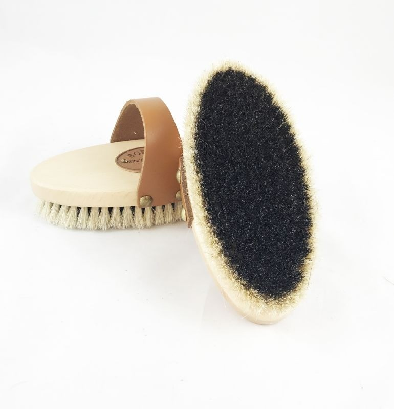 Borstiq Natural Body Brush with Shaped Leather Strap
